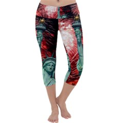 The Statue Of Liberty And 4th Of July Celebration Fireworks Capri Yoga Leggings