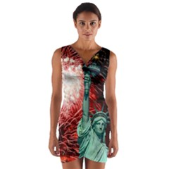 The Statue Of Liberty And 4th Of July Celebration Fireworks Wrap Front Bodycon Dress