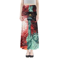 The Statue Of Liberty And 4th Of July Celebration Fireworks Maxi Skirts