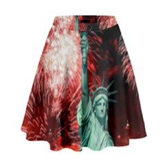 The Statue Of Liberty And 4th Of July Celebration Fireworks High Waist Skirt