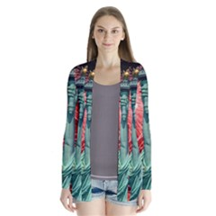 The Statue Of Liberty And 4th Of July Celebration Fireworks Cardigans