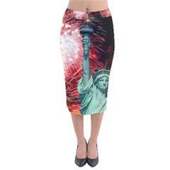 The Statue Of Liberty And 4th Of July Celebration Fireworks Velvet Midi Pencil Skirt