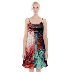 The Statue Of Liberty And 4th Of July Celebration Fireworks Spaghetti Strap Velvet Dress
