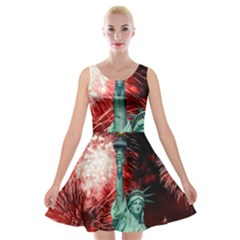 The Statue Of Liberty And 4th Of July Celebration Fireworks Velvet Skater Dress
