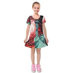 The Statue Of Liberty And 4th Of July Celebration Fireworks Kids  Short Sleeve Velvet Dress