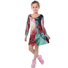 The Statue Of Liberty And 4th Of July Celebration Fireworks Kids  Long Sleeve Velvet Dress