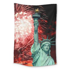 The Statue Of Liberty And 4th Of July Celebration Fireworks Large Tapestry