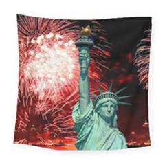 The Statue Of Liberty And 4th Of July Celebration Fireworks Square Tapestry (Large)