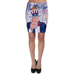 United States Of America Celebration Of Independence Day Uncle Sam Bodycon Skirt