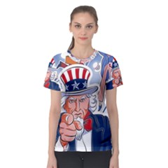 United States Of America Celebration Of Independence Day Uncle Sam Women s Sport Mesh Tee