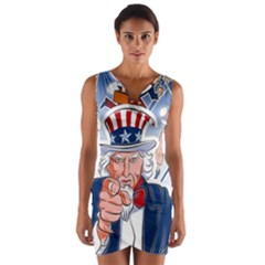 United States Of America Celebration Of Independence Day Uncle Sam Wrap Front Bodycon Dress