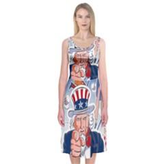 United States Of America Celebration Of Independence Day Uncle Sam Midi Sleeveless Dress