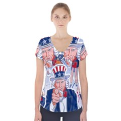 United States Of America Celebration Of Independence Day Uncle Sam Short Sleeve Front Detail Top