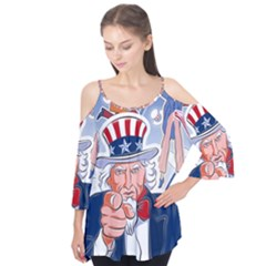 United States Of America Celebration Of Independence Day Uncle Sam Flutter Tees