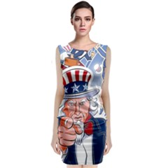 United States Of America Celebration Of Independence Day Uncle Sam Sleeveless Velvet Midi Dress