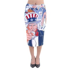 United States Of America Celebration Of Independence Day Uncle Sam Velvet Midi Pencil Skirt