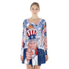 United States Of America Celebration Of Independence Day Uncle Sam Long Sleeve Velvet V Neck Dress