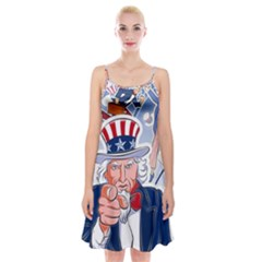 United States Of America Celebration Of Independence Day Uncle Sam Spaghetti Strap Velvet Dress