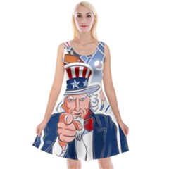 United States Of America Celebration Of Independence Day Uncle Sam Reversible Velvet Sleeveless Dress