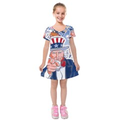 United States Of America Celebration Of Independence Day Uncle Sam Kids  Short Sleeve Velvet Dress