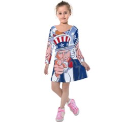 United States Of America Celebration Of Independence Day Uncle Sam Kids  Long Sleeve Velvet Dress