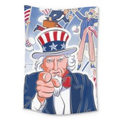 United States Of America Celebration Of Independence Day Uncle Sam Large Tapestry
