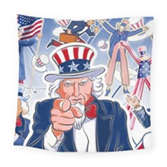 United States Of America Celebration Of Independence Day Uncle Sam Square Tapestry (large)