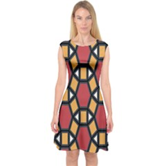 Circle Ball Red Yellow Capsleeve Midi Dress