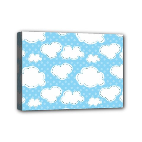 Cloud Blue Sky Mini Canvas 7  X 5