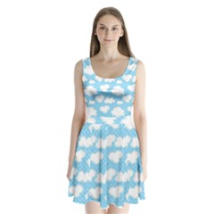 Cloud Blue Sky Split Back Mini Dress