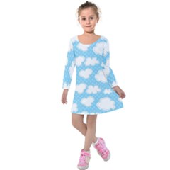 Cloud Blue Sky Kids  Long Sleeve Velvet Dress