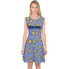 Circle Purple Yellow Capsleeve Midi Dress