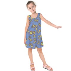 Circle Purple Yellow Kids  Sleeveless Dress