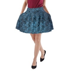 Blue Texture A-Line Pocket Skirt