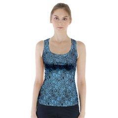 Blue Texture Racer Back Sports Top