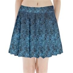Blue Texture Pleated Mini Skirt