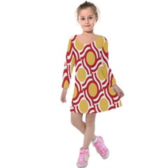 Circle Orange Red Kids  Long Sleeve Velvet Dress
