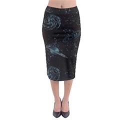 Decoboom Engraved Pickguard Space Saturnus Midi Pencil Skirt