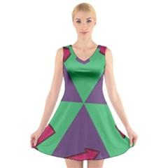 Daily Spinner Signpost V-Neck Sleeveless Skater Dress