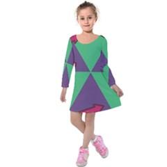 Daily Spinner Signpost Kids  Long Sleeve Velvet Dress