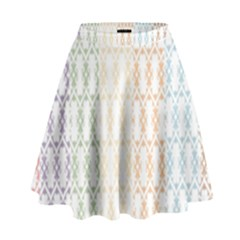Digital Print Scrapbook Flower Leaf Color Green Purple Blue Pink Brown High Waist Skirt