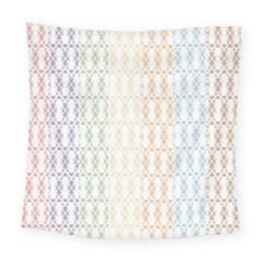 Digital Print Scrapbook Flower Leaf Color Green Purple Blue Pink Brown Square Tapestry (large)