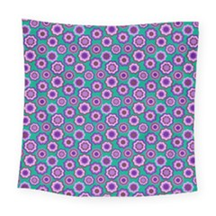 Clipart Floral Pattern Flower Purple Green Square Tapestry (large)