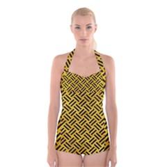 WOV2 BK-YL MARBLE (R) Boyleg Halter Swimsuit