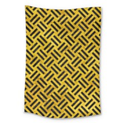 Woven2 Black Marble & Yellow Marble (r) Large Tapestry