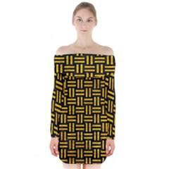 WOV1 BK-YL MARBLE Long Sleeve Off Shoulder Dress