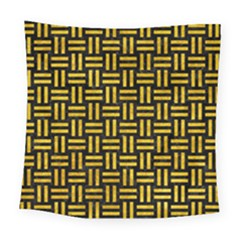 Woven1 Black Marble & Yellow Marble Square Tapestry (large)