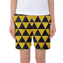 Triangle3 Black Marble & Yellow Marble Women s Basketball Shorts