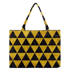 Triangle3 Black Marble & Yellow Marble Medium Tote Bag