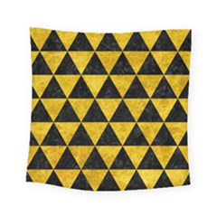 Triangle3 Black Marble & Yellow Marble Square Tapestry (small)